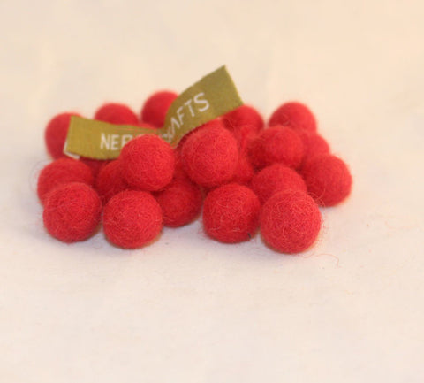 1 cm Colorful Felt Balls-Red, Black, Yellow, Blue, Gray