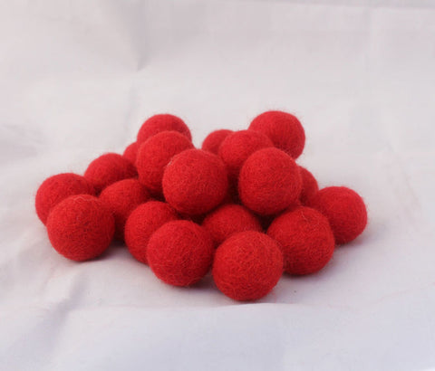 2 cm/20mm Felt Balls-Red, Black, Yellow, Blue, Gray