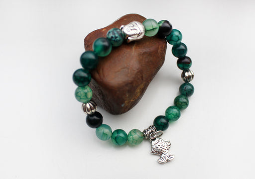 Stone Beaded Women's Bracelet with Fish Charm - nepacrafts