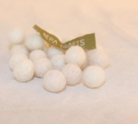 1cm Felt Balls-White, Pink, Beige, Green, Brown