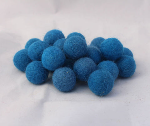 2 cm/20mm Felt Balls-Blue, Purple, Yellow, Brown, Pink