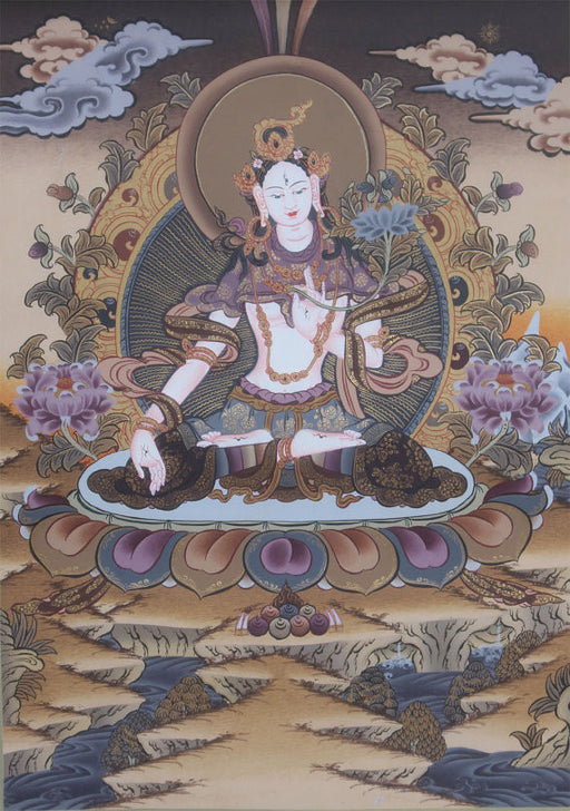 Beautiful White Tara Thangka Nepal 40x30cm