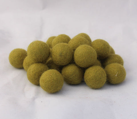 2cm/20mm Felted Wool Balls-Green, Beige, Pink, Brown