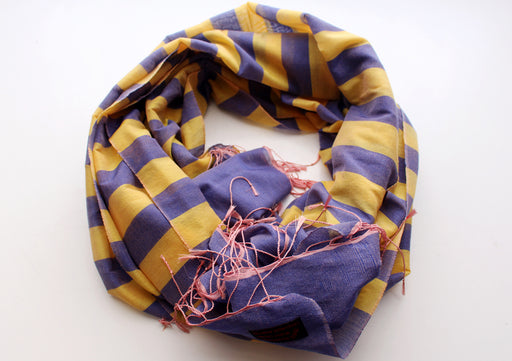 Yellow Stripped 100% Reversible Water Pashmina Shawl - nepacrafts