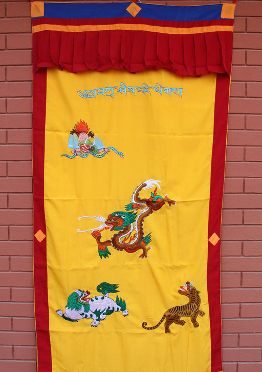 Dragon Embroidered Silk Door Curtain Wall Hanging - nepacrafts