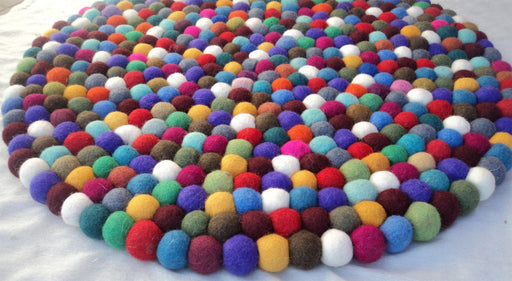 Multi Colored  Woolen Round Felt Balls Mat/Carpet 50CM - nepacrafts