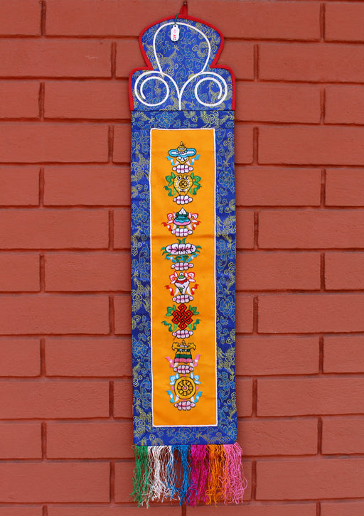 8 Auspicious Symbol Embroidery Wall Hanging - nepacrafts
