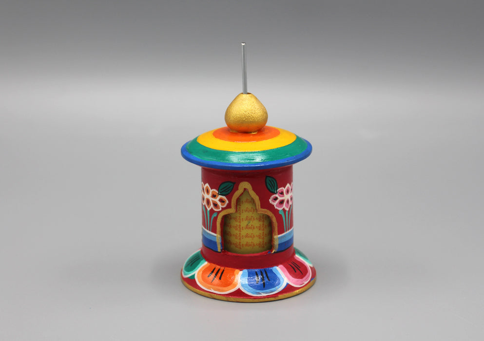 Mini Wooden Desktop Prayer Wheel Handcrafted and Painted in Nepal - nepacrafts