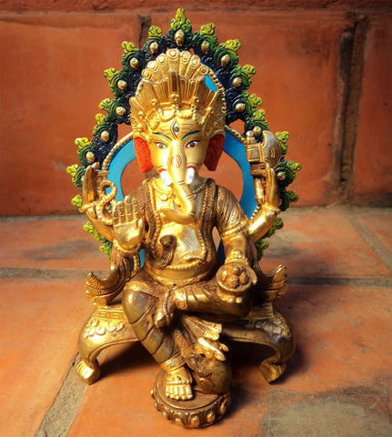 Gold Plated Ganesh Statue With Color Parwa