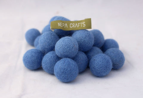 2cm/20mm Felt Balls-Blue, Pink, Beige, Brown, Navy Blue
