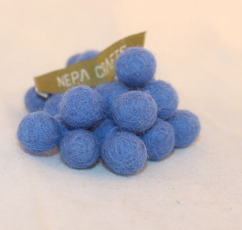 1cm Felt Balls-Blue, Dark Blue, Brown, Pink