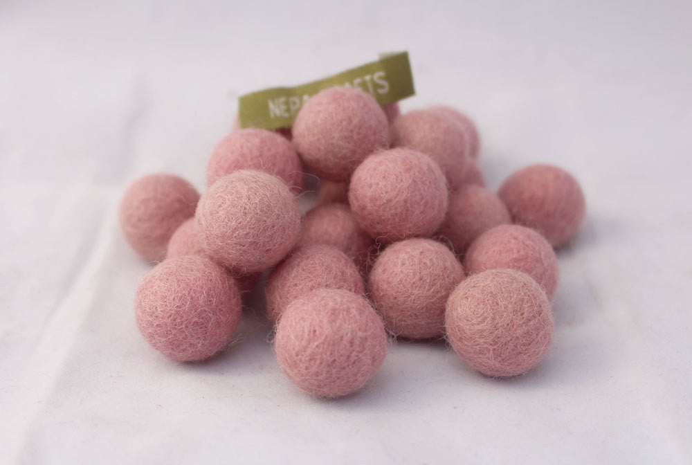 2cm/20mm Felt Balls-Blue, Pink, Beige, Brown, Navy Blue - nepacrafts