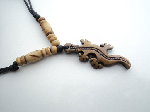 Handcrafted Bone Pendant Necklace-Crocodile - nepacrafts