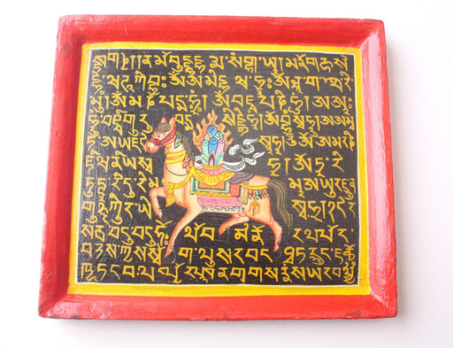 Tibetan Windhorse Mantra Painted Wooden Wall Hanging Frame - nepacrafts