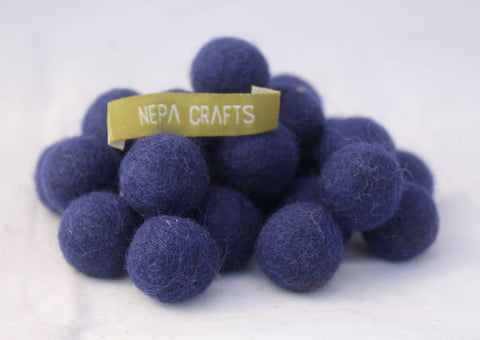 2cm/20mm Felt balls-Blue, Green, Lavender, Brown
