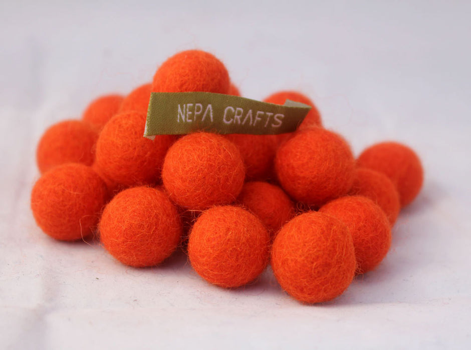 2cm/20mm Felt Balls-Brown, Orange, Turquoise, Green, Pink - nepacrafts
