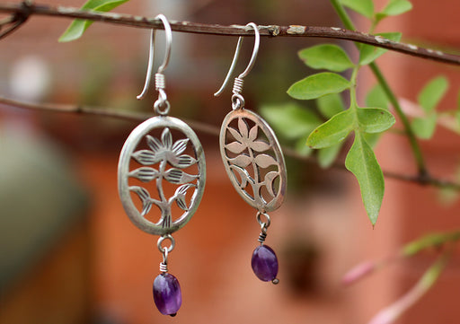 Silver Sterling Lotus Flower with Amethyst Drop Earrings - nepacrafts
