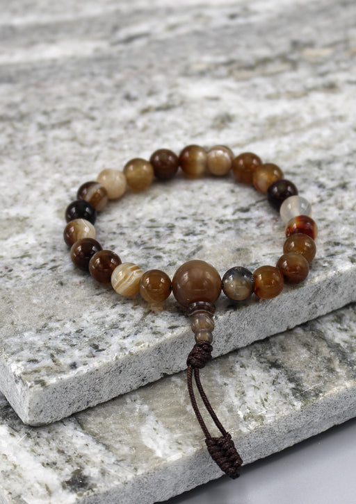 Brown Agate Beads Stretchable Bracelet - nepacrafts