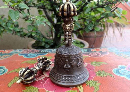Tibetan Bell and Dorjee Set in a Copper Case with White Metal Carvings - nepacrafts