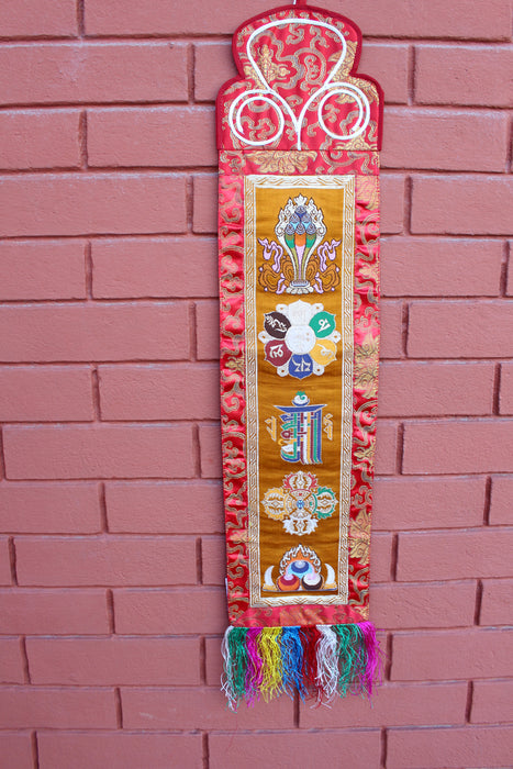 Embroidered Polyester Brocade KalaChakra Banner - NepaCrafts