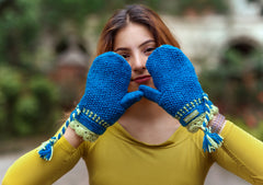 Blue with Lime Lining Soft Wool Mittens - NepaCrafts