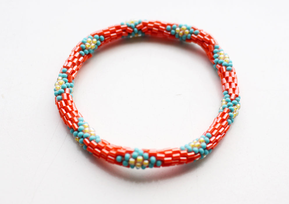Orange Turquoise Glass Beads Roll On Bracelet - nepacrafts