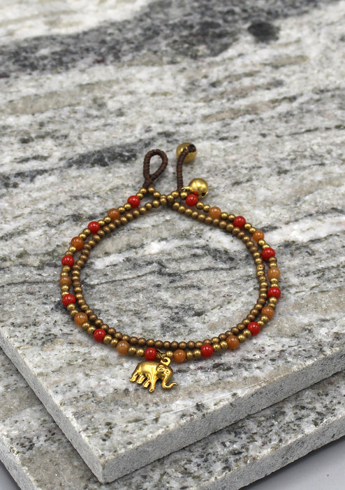 Elephant Charm Glass Beads Women's Anklet - nepacrafts