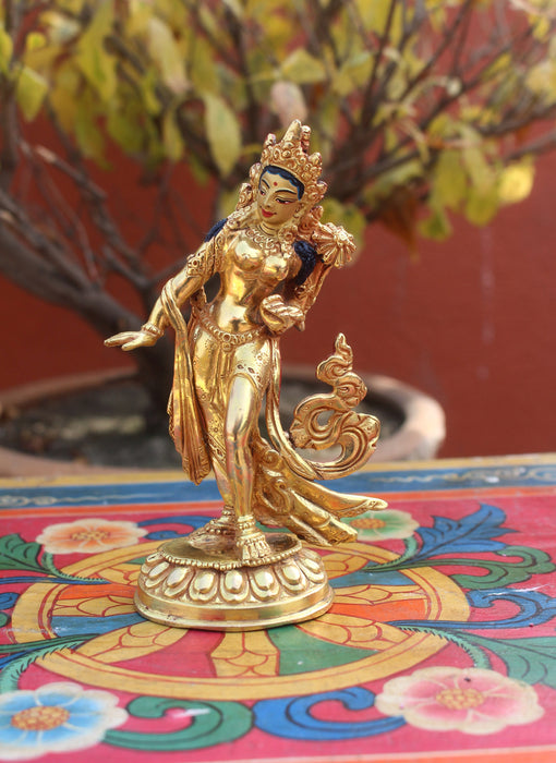 "Copper Dancing Tara Statue-Fully Gold Plated 5"" High Statue - nepacrafts"