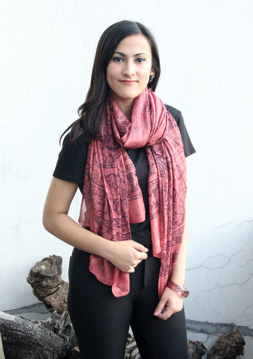 Beautiful Coral Summer Scarf with Flower Print - nepacrafts