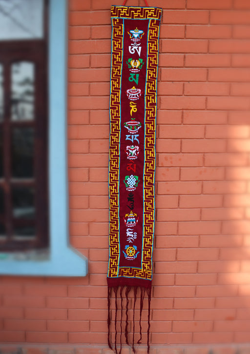 Eight Auspicious Symbol Embroidery Cotton Wall Hanging Banner