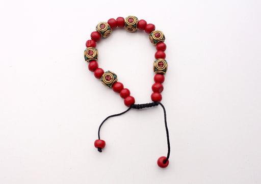 Attractive Dark Red Beads with Cube Tibetan Beads Unisex Bracelet - nepacrafts