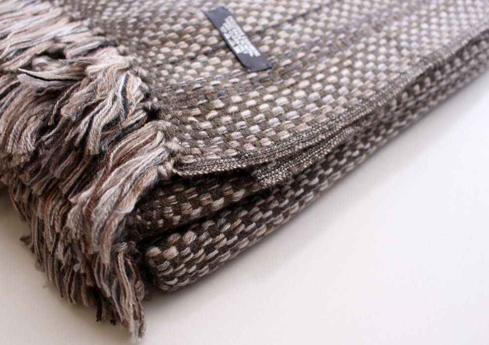 Exclusive Brown and Grey Handmade Cashmere Travel Blanket - nepacrafts