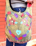 Flower in a Heart Patchwork Hippie Bag, Cotton Jogi Side Carry Bag - NepaCrafts