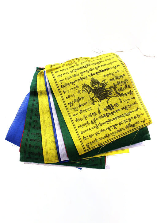 Set of 5 Cotton Windhorse Prayer Flags, Tibet Flags