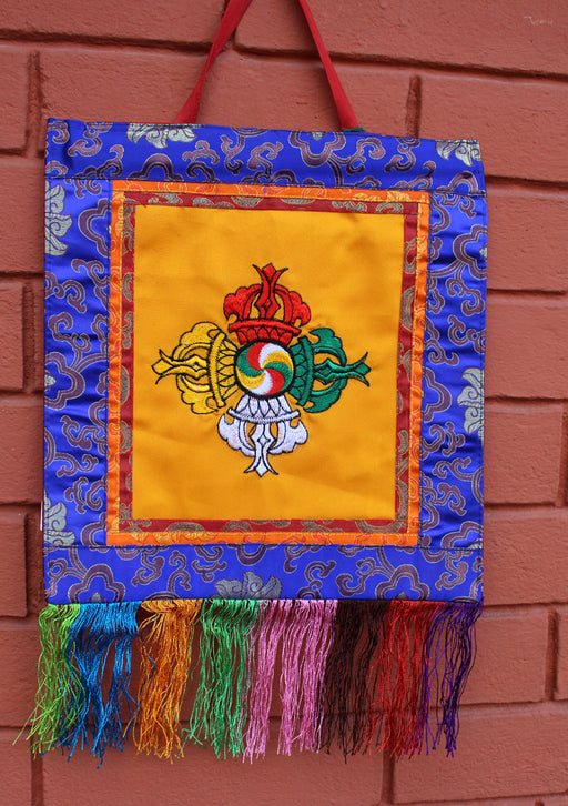 Double Dorjee Embroidery Wall Hanging - nepacrafts