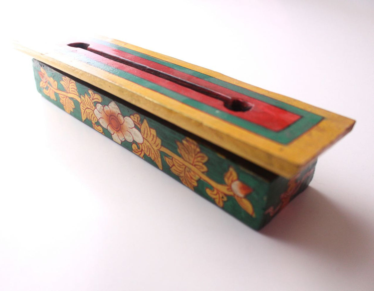 Tibetan Hand Painted Medium Sized Wooden Incense Burner Box