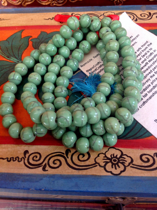 Buddhist Faux Turquoise Prayer Mala - nepacrafts