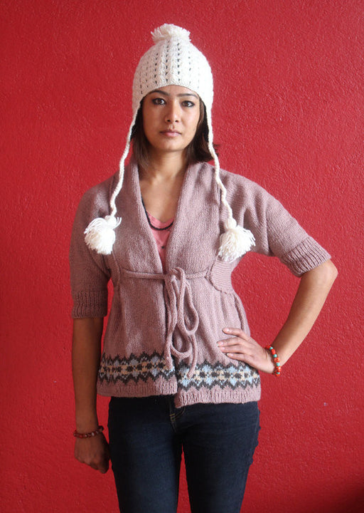 Himalayan Crocheted Ear Flap White Sherpa Cap WOC01 - nepacrafts