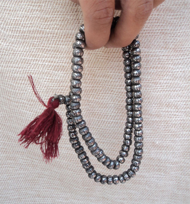 Om Etched Metal Prayer Mala - nepacrafts