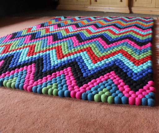 Rectangular Multicolor Felt Ball Rug - nepacrafts
