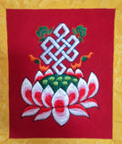 Eternal Knot with Lotus Green Wall Hanging Banner