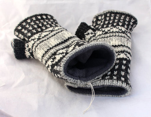 Handknit Black and White Woolen Handwarmer - nepacrafts