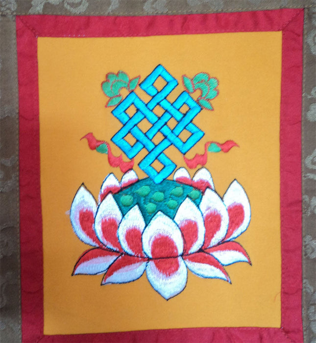 Eternal Knot with Lotus Flower Embroidery Wall Hanging Banner - nepacrafts