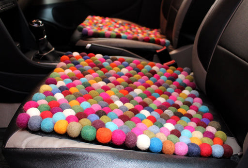 Colorful Rainbow Felt Balls Mat - nepacrafts