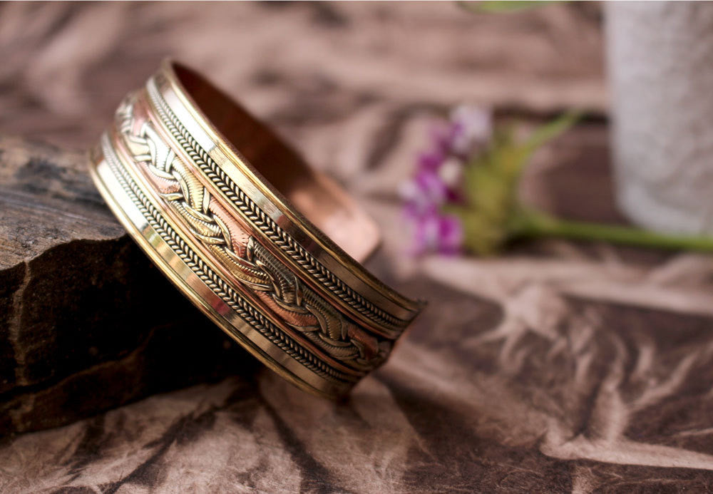Three Metal Astrological Bangle - nepacrafts