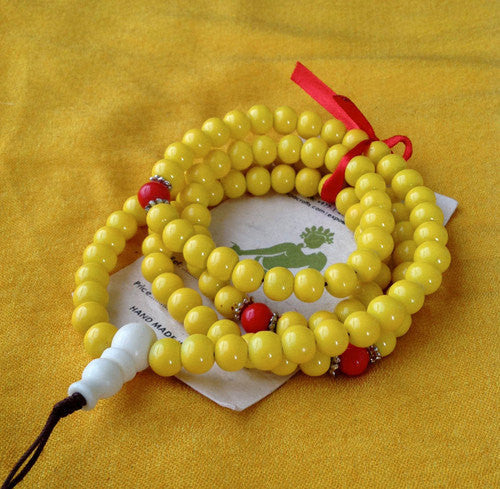 Beautiful Bright Yellow Glass beads Prayer Mala - nepacrafts