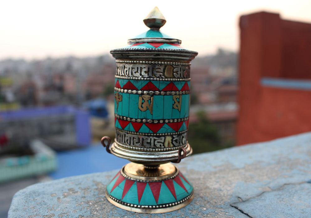 Om Mani Mosaic Tibetan Prayer Wheel 5.5 inch - nepacrafts