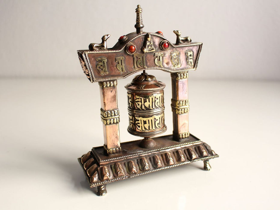 Om Mani Tibetan Prayer Wheel in a Potala Metal Frame - nepacrafts