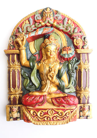 Marvelous Manjushree Clay Wall Hanging from Nepal - NepaCrafts