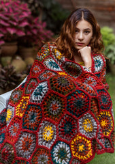 Gorgeous Hand Crochet Red and Yellow Multicolor Woolen Blanket